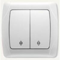 90561017 Выключатель двухклавишный проходной Vi-ko (Carmen) белый