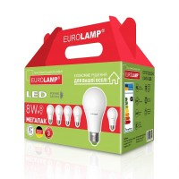 Світлодіодна лампа A60 8W E27 4000K 6шт. EUROLAMP MLP-LED-A60-08274(6)